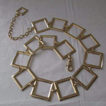 14-1111 Vintage 1960s Geometric Chain Belt / Metal Belt / Mod Chain Belt / Square Chain Belt / Accessory / Gold Tone Chain Belt
