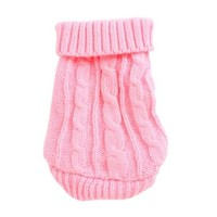 Winter Warm Pink Cable Knit Turtleneck Pet Dog Yorkie Clothing Sweater XXS - Walmart.com
