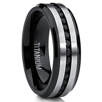 Two Tone Black Titanium Men's Eternity Engagement Wedding Band Ring W/ Black Cubic Zirconia 7mm