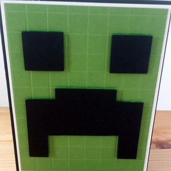 Minecraft Lego Handmade Greeting Card. Minecraft Creeper Birthday Card. Minecraft Birthday Party.