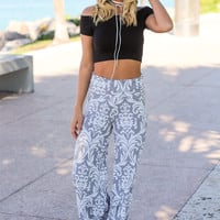 Gray and White Printed Palazzo Pants
