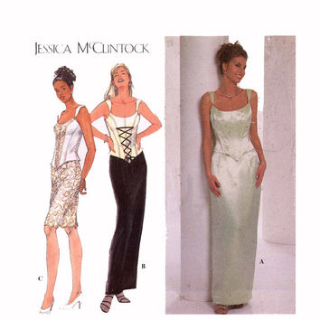 Jessica McClintock bridesmaid or brides Bustier top skirt  sewing pattern Simplicity 7637 3 sizes to choose from