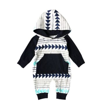 Newborn Kids Baby Boy Girl Infant Romper Jumpsuit Long Sleeve Cotton Hooded Clothes Cute Geometry Printed Outfit