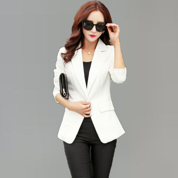 Spring Autumn Office Ladies Blazers White Bright Pink Black Jackets For Women Business Single Button Tuxedo  Female Clothings