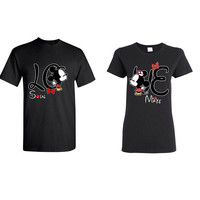 Couple tshirt Mickey and Minnie Kissing LOVE Matching Shirts Disney Inspired Mickey and Minnie LO-VE t-shrit.