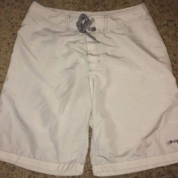 Sale!! Vintage STUSSY white swimming running Sports Polyester Shorts size 32