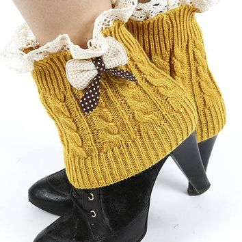 School Girl Bow Leg Warmer
