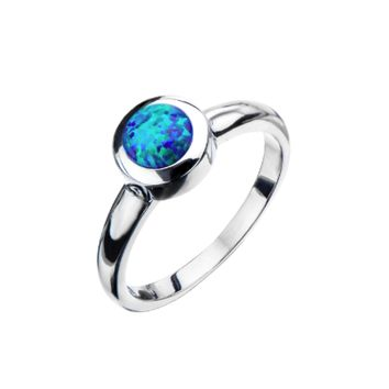 Stainless Steel & Synthetic Black Opal Ring