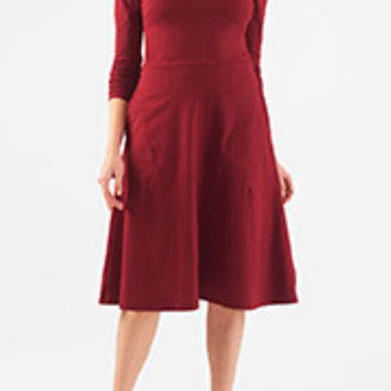Cotton knit fit-and-flare dress