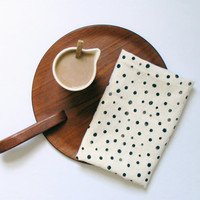 Eco friendly linen tea towel cream black dots