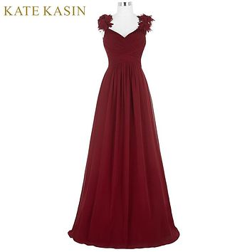 Flower Cap Sleeve Long Cheap Prom Dresses Fast Shipping Graduation Evening Party Dresses 2017 Chiffon Burgundy Prom Dress ST79