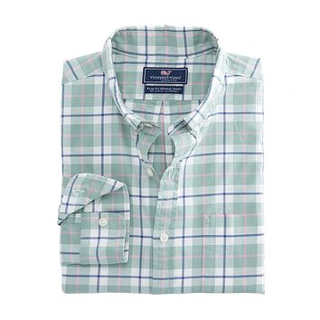 Riverbank Plaid Slim Murray Shirt in Desert Green by Vineyard Vines