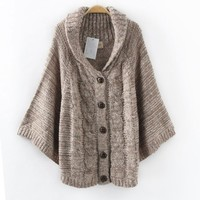 Lapel Batwing Sleeve Cape Cardigan Cweater Shawl Coat