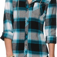 Empyre Hampton Teal & Black Hooded Flannel