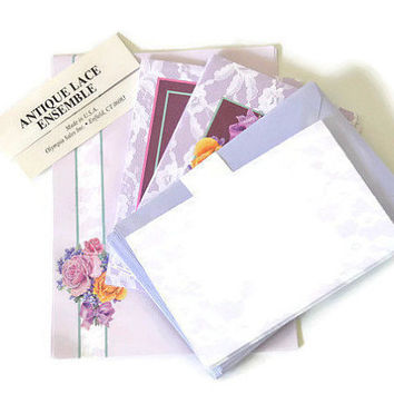 Set Of Lavender/Purple Antique Lace Ensemble Cards Lavender Postcards Lavender & Purple Scrapbook Paper Flap Invitation Envelopes Scrapping