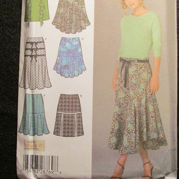 Sale Uncut Simplicity Sewing Pattern, 4753! 6-8-10-12 Small/Medium/Women's/Misses/Calf/Ankle/Knee LengthFlare Skirts/Pleated/Flounce/Summer/