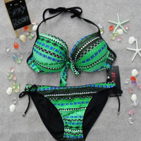 Women's Green Bohemian Bikini Suits Aztec Pattern Geometric Print Swimwear