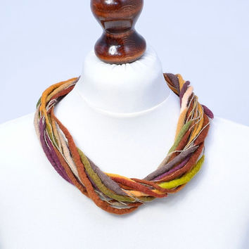 Earthy, linen and felt, multi strand, twisted necklace - [N34]