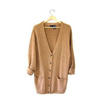 Vintage long brown cardigan sweater Oversized 90s Preppy Grandpa Sweater Hipster boyfriend sweater. Button up Slouchy pocket sweater. Large
