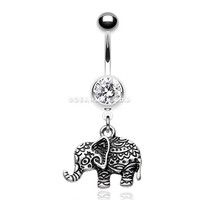 Henna Elephant Belly Button Ring (Clear)