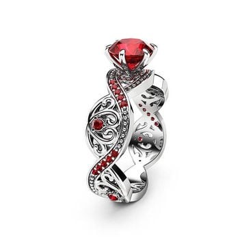 Special Reserved - 18K White Gold Swirled 1.5 ct. Ruby Engagement Ring