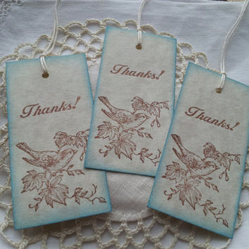 Bird on a Branch Thank You Tags Vintage Inspired Set of 8