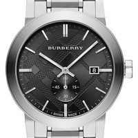Burberry Check Stamped Bracelet Watch, 42mm - Silver/ Black