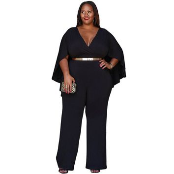 YJSFG HOUSE Women Sexy Women Deep V-neck Party Jumpsuit Sexy One Piece Bodysuit Rompers Autumn Batwing Sleeve Catsuit Plus Size