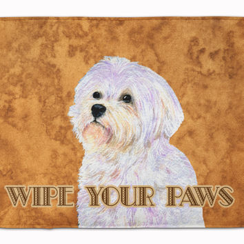 Puppy Cut Maltese Wipe your Paws Machine Washable Memory Foam Mat SS4898RUG