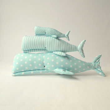 Stuffed  Whales, Whales toys x3. Plush cute toys for a toddler. Child friendly toys. Aqua blue white 3 patterns set cloth. Baby shower gift