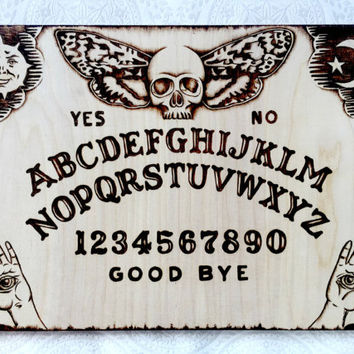 Pyrography Ouija board. Dark arts, hand created by TimberleePyrography