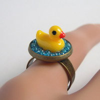Cute Yellow Duck Ring, Sea Blue Glass Beads Adjustable Ring