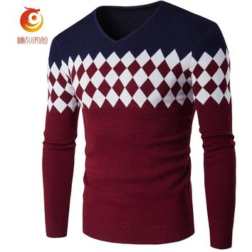 Sweaters Male Brand 2017 Stylish Diamond Lattice Knitted Men Long Sleeve Sweater Argyle V-Neck Sweater Mens Sweaters Pullovers
