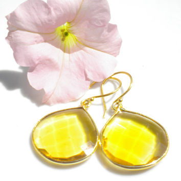 Topaz Quartz Gemstone Pendant Earrings Gold Bezeled Setting