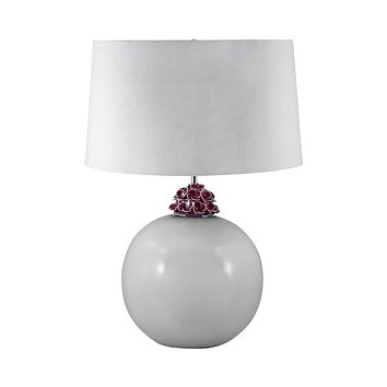 271 Ceramic Ball Table Lamp In White And Amethyst