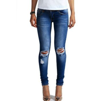 1884 New 2017 Hot Fashion Ladies Cotton Denim Pants Stretch Womens Bleach Ripped Knee Skinny Jeans Denim Jeans For Female