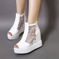 Design Summer Hollow Out Lace Wedge Sandals = 4805003524