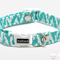 Marina Cat Collar - Turquoise - Breakaway Safety Buckle - Sizes for Cat, Kitten, Dog