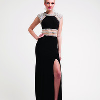 Fitted Sexy Prom Beaded Gown Dress Stunning Long Sleeveless Sparkle Slit Formal
