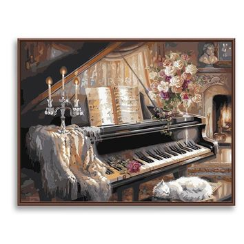 Wall Art Paint By Number Vintage Piano DIY Digital Canvas Oil Painting Coloring By Numbers Kids Room Decor Music SZH-90