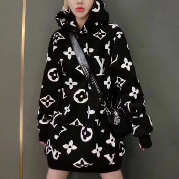 LV X Supreme  Long Sleeve Hooded Sweat Women Medium long Dress