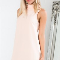 Rolled Up Dress in Peach