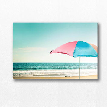 beach umbrella photography canvas nautical decor canvas wrap12x18 24x36 fine art photography ocean canvas coastal prints large scale canvas