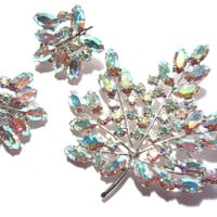 Brilliant Aurora Borealis Rhinestone Brooch Earrings Jewelry Set Leaf Shape by B David