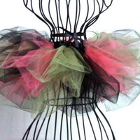 Black, green, and coral tutu