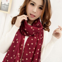 Fashion Women Grid Dot Chiffon Long Style Soft Silky Wrap Shawl Scarf Scarves = 1958269316