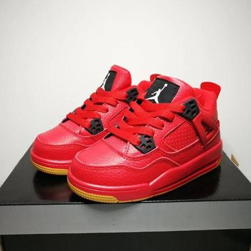 Air Jordan 4 Fire Red Singles Day Toddler Kid Shoes Child Sneakers - Best Deal Online
