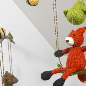 Mobile, nursery mobile, Baby Mobile, Woodland Mobile, Fox Bear Bee Bird Raccoon Mobile, Tree, Swing, Boy Girl, Natural, Fiber Sculpture