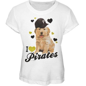 PEAPGQ9 Pittsburgh Pirates - I Heart Puppy Girls Juvy T-Shirt