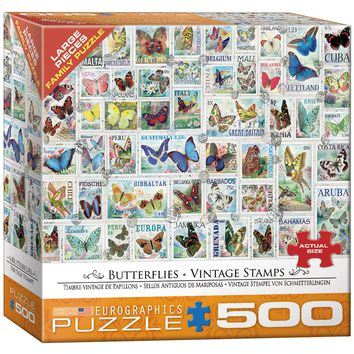 Vintage Stamps - Butterflies - 500 Piece Jigsaw Puzzle